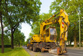 Heavy concrete breaker on a road Stock Image