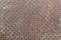 Heavy duty rusty metal with non slip repetitive patten and corroded vintage industrial steel plate structure as a retro grunge ba