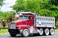 Heavy duty truck in parking lot Royalty Free Stock Photo