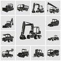 Heavy equipment and machinery icons set