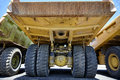 Heavy equipment mining dump truck suspension tires Royalty Free Stock Photo