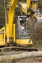 Heavy equipment operator on excavator Royalty Free Stock Photo