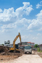 Heavy excavation equipment at a large construction site Royalty Free Stock Images