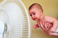 Heavy heat wave tel aviv aug baby cools down with a fan during on aug according to israel meteorology service the highest Stock Image