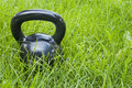 Heavy iron  kettlebell in grass Stock Image
