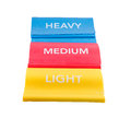 Heavy medium light resistance bands and to use when working out Stock Photo