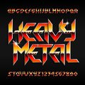 Heavy Metal alphabet font. Shiny letters and numbers in hard rock style. Royalty Free Stock Photo