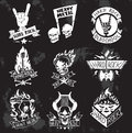 Heavy Metal rock badges vector set. Royalty Free Stock Photo