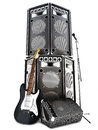 Heavy metal , rock and roll background with large tower speakers Royalty Free Stock Photo