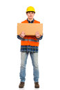 Heavy package construction worker holds carton box full length studio shot isolated on white Royalty Free Stock Photo