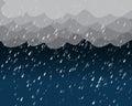 Heavy rain in dark sky, vector