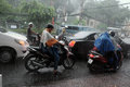 Heavy rain, rainy season at Ho Chi Minh city Royalty Free Stock Photo