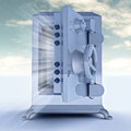 Heavy reinforced blue metallic opened bank vault illustration Stock Image