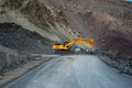 Heavy road construction car in himalaya mountains india ladakh altitude m Stock Images