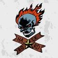 Heavy rock music badge vector background vintage label with punk skull symbol hard sound sticker emblem illustration Royalty Free Stock Photo