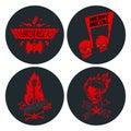 Heavy rock music badge vector vintage label with punk skull symbol hard sound sticker emblem illustration Royalty Free Stock Photo