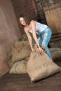 Heavy sack Royalty Free Stock Photo