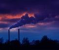 Heavy smoke from coal power plant Stock Photos