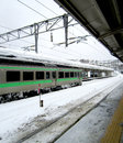 Heavy snow make all train station white Royalty Free Stock Photography