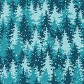 Heavy snow in the pine forest seamless pattern vector illustration Royalty Free Stock Photo