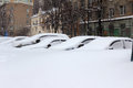Heavy snowfall moscow cars hidden under snow Stock Images