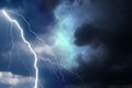 Heavy storm bringing thunder, lightnings and rain Royalty Free Stock Photo