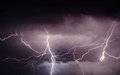 Heavy summer storm bringing thunder, lightnings and rain Royalty Free Stock Photo