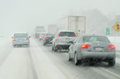 Heavy traffic blizzard Royalty Free Stock Photo