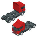 Heavy truck with the trailer. Isometric vector illustration. The set of objects isolated against the write background