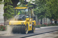 Heavy vibration roller compactor at asphalt pavement works for road repairing Stock Photography