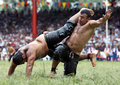 Heavy weight wrestlers compete at the Kirkpinar Turkish Oil Wrestling Festival, Turkey. Royalty Free Stock Photo