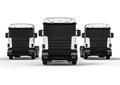 Heavy white trucks isolated on white
