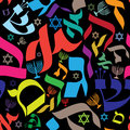 Hebrew seamless pattern vector design with letters and judaic icons Royalty Free Stock Photos