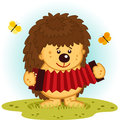 Hedgehog with accordion vector illustration Royalty Free Stock Photo