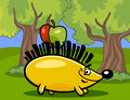 Hedgehog with apple cartoon illustration of in the forest Stock Photography