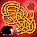 Hedgehog and apple maze game Royalty Free Stock Photo