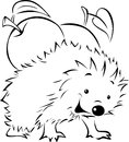 Hedgehog carries on his back an apple black outline illustration Royalty Free Stock Photography