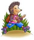 Hedgehog em rolos Fotografia de Stock Royalty Free