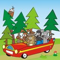 Hedgehog mouse mole hare going red automobile trip humorous illustration children Stock Images