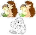 Hedgehog mushroomer funny holding a big mushroom color and black and white outline vector illustrations Stock Photo