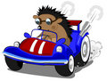 Hedgehog the racer Stock Image