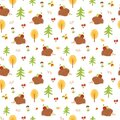 Hedgehog seamless pattern. Autumn forest seamless pattern Cute colorful fall background. Nature print, wallpaper
