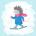 Hedgehog is skiing in the forest. Winter sports. Vector illustration for design. Royalty Free Stock Photo