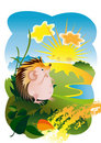 The Hedgehog and the sun Royalty Free Stock Photography