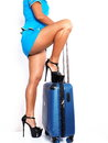 Heel over suitcase Royalty Free Stock Photo
