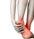 Heel pain in women concept Royalty Free Stock Photos