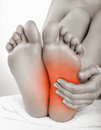 Heel pain in women concept Royalty Free Stock Photography