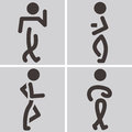 Heel and toe walk summer sports icons set Stock Photos
