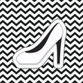Heeled shoe sticker on pop art zig zag linear monochrome background