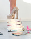 Heels on books beautiful shoes Royalty Free Stock Photography